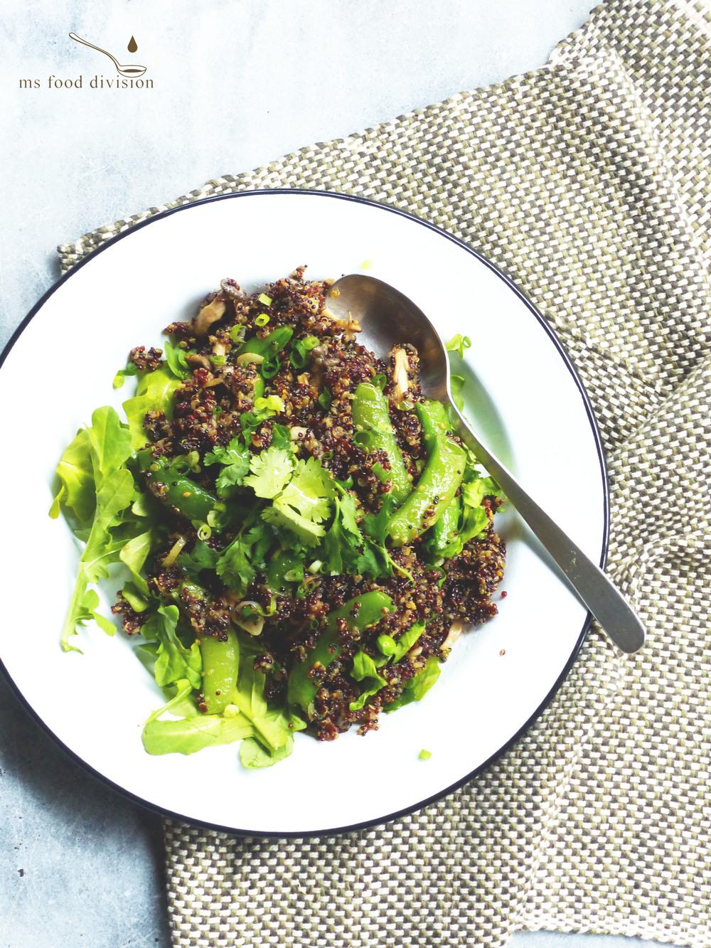 stir fry gingery mushroom & sugar snap peas quinoa salad