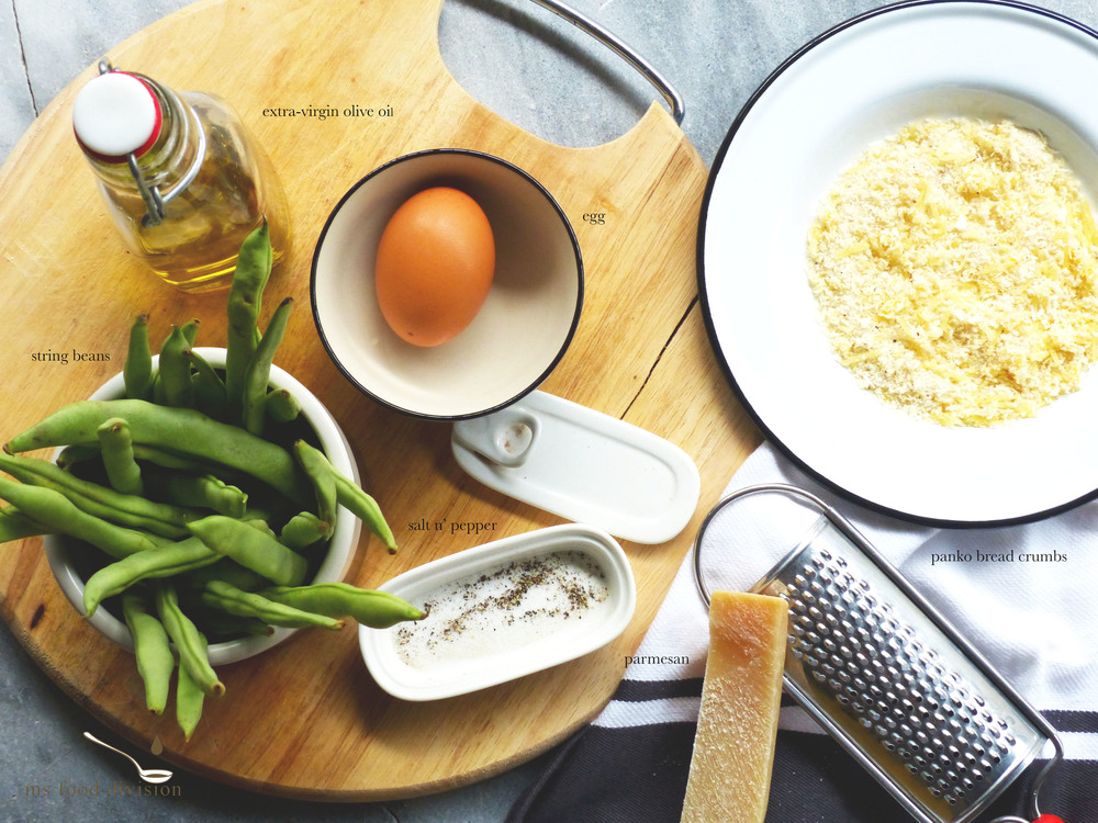 These are the few ingredients for the delicious bean fries.     Preparation Time: 5-10 minutes    Cooking Time: 20-25 minutes    Ingredients:    200g string beans  1 egg, whisked  1/2 cup panko bread crumbs  1/2 grated parmesan  2-3 tbsp extra-virgin olive oil    Instructions:      1) Preheat oven at 200ºC, get two baking trays with baking sheets.  Spread a little olive oil on each baking sheet.    2) Get a large mixing bowl, add bread crumbs and cheese, season.  Mix well.     3) Whisk an egg on a shallow plate and make sure each string bean is coated with egg mixture.     4) Coat the string beans with bread crumbs and cheese mixture.      5) Transfer the beans to the baking dish and make sure each is laying separately without overlapping each other to get the best result of the crunchiness.     6) Bake for 20-25 minutes and serve HOT with your favorite dipping.