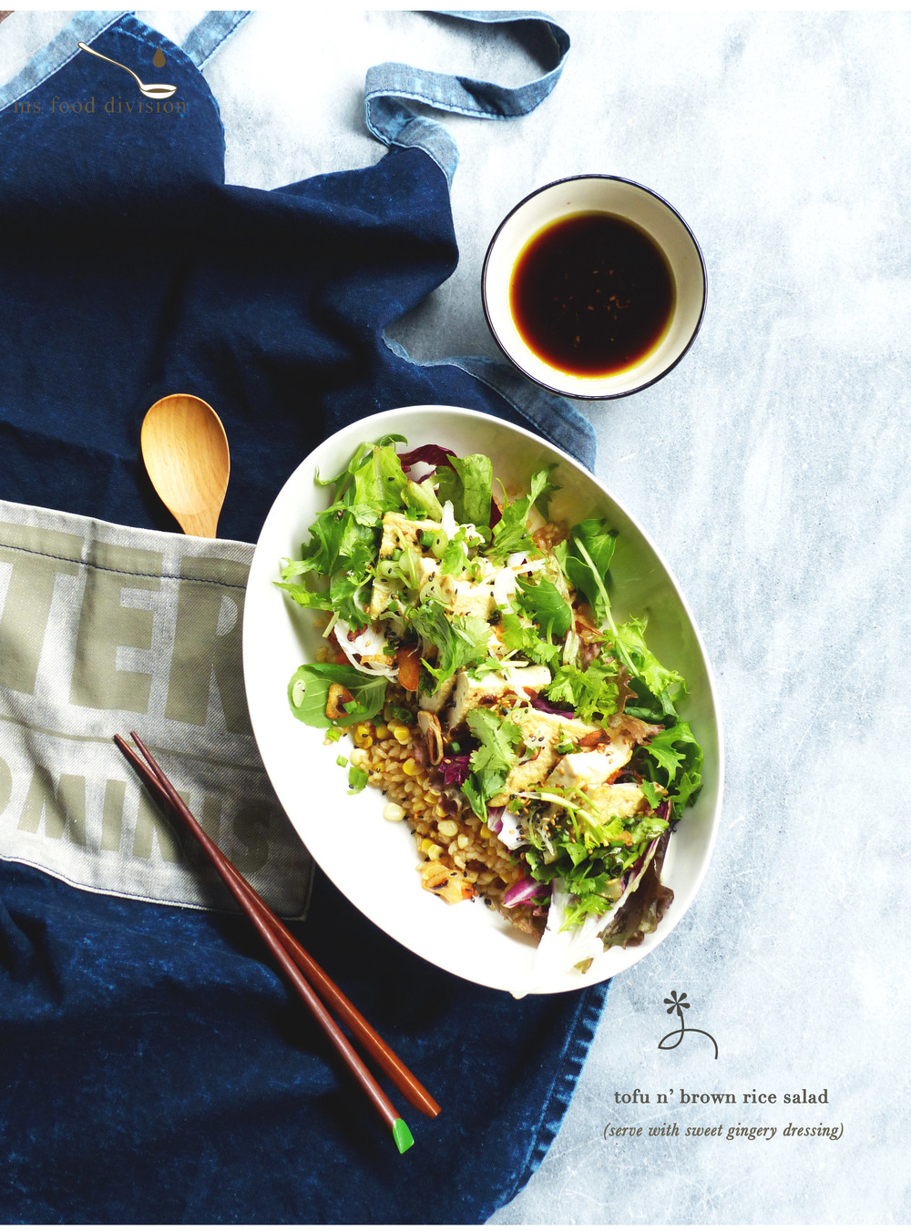 tofu and brown rice salad - a macho dish for the boys..