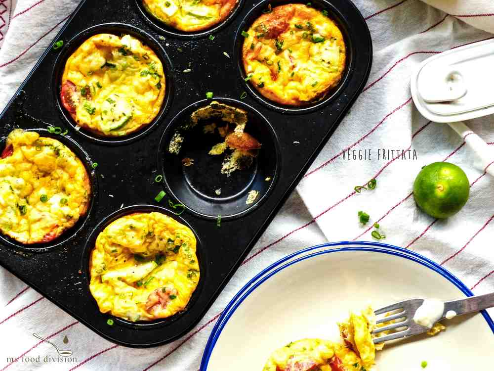 Servings: 6 mini frittatas    Preparation Time: 5-10 minutes    Cooking Time: 15-20 minutes    Ingredients:    1/2 zucchini or Chinese squash (I used Chinese squash here because its taste is quite similar to zucchini and easily found in Asia), cut in small cubes or thinly sliced  8-10 cherry tomatoes, halved  50-80g organic feta cheese, crumbled  1/4 cup grated parmesan cheese  1 bunch of chopped spring onions or chives  2-3 tbsp melted butter  4 large eggs  1/3 cup milk    Instructions:      1) Preheat the oven at 180ºC.  Get a muffin tray and brush the melted butter inside of each muffin cup.      2) Add zucchini, cherry tomatoes, and feta.  Season.      3) Mix the eggs with milk.  Season just a bit if you like.  Pour the egg mixture to the   muffin cups.      4) Sprinkle parmesan cheese and some chopped chives on each muffin cup.  Bake for 15-20 minutes.      5) Let the muffins cool down for 1-2 minutes before serving.  Add more fresh chives on top and serve with your favorite condiments.  Enjoy!! :)