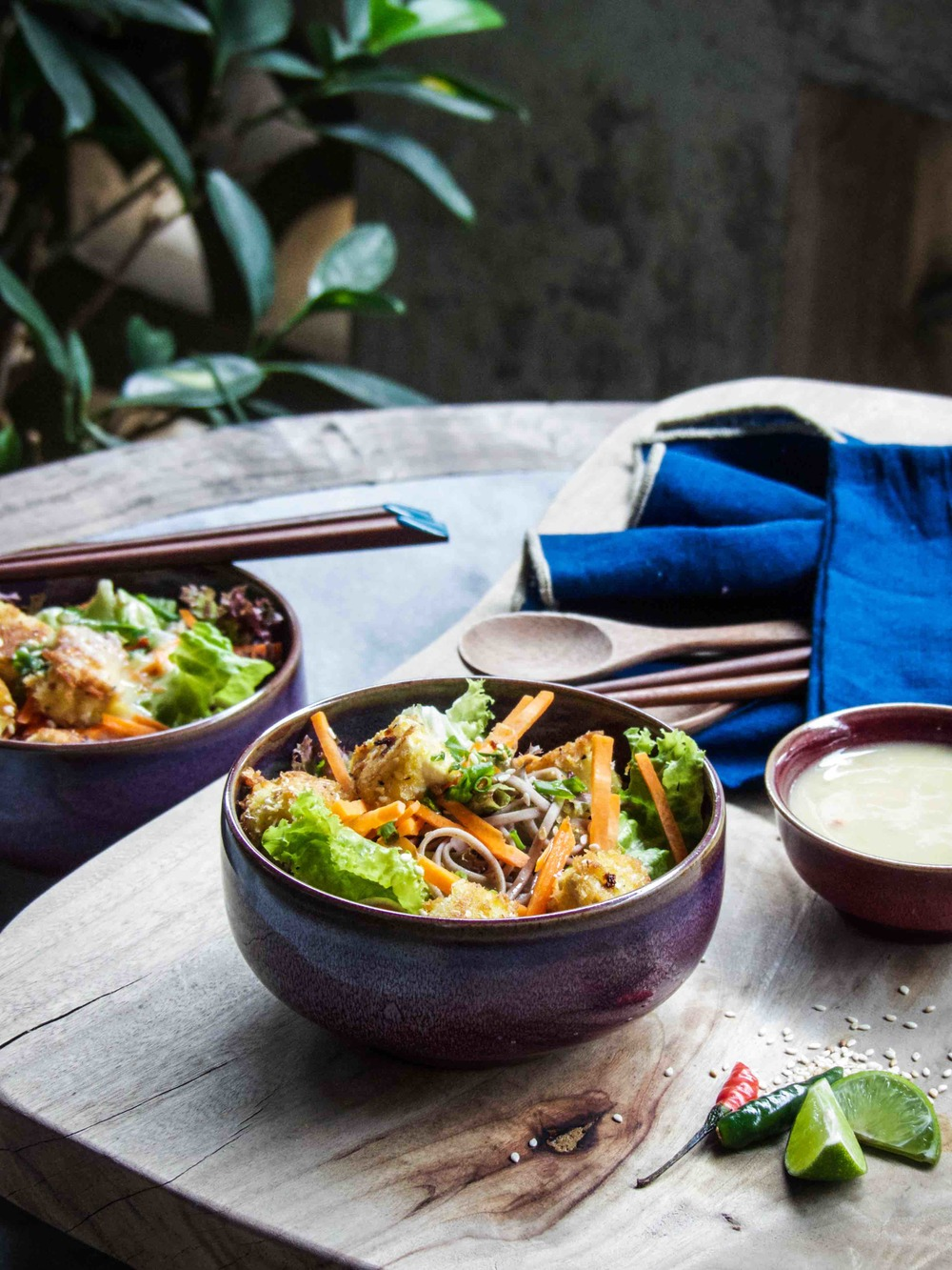 Crispy Tofu & Soba Salad with Spicy Miso-Lime Dressing
