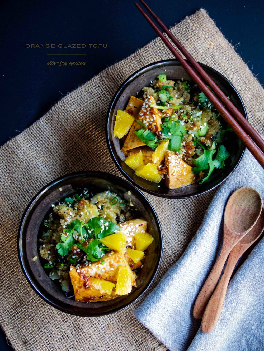 Orange glazed tofu + stir-fry chinese veggies quinoa --