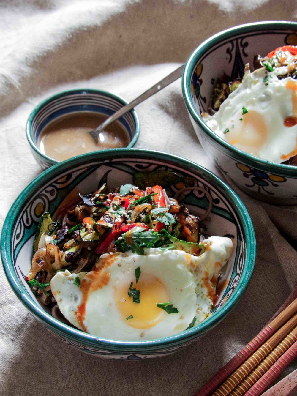 Sweet Gingery Miso and Grilled Veggies Soba with an egg