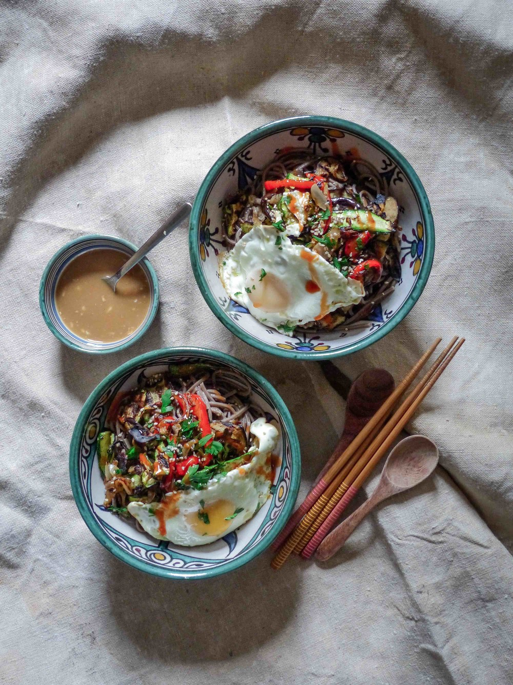 His and hers -- Sweet Gingery Miso and Grilled Veggies Soba with an egg