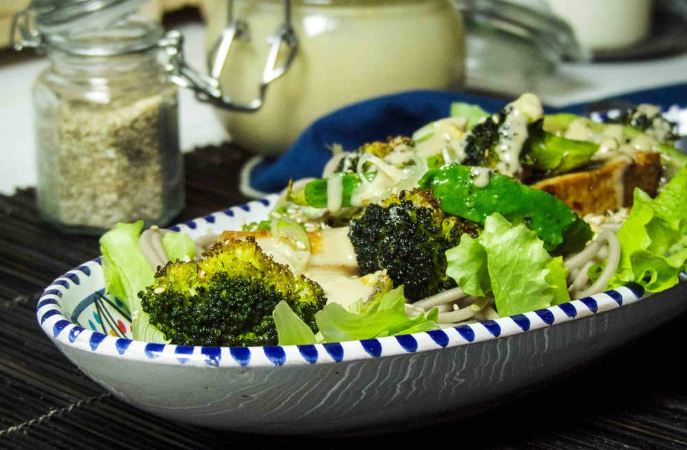 Soba Salad with Roasted Broccoli, Avocado, and Tofu - this is one delicious hearty salad
