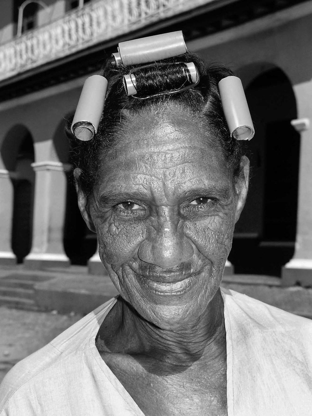 Lady in her curlers, Trinidad, Cuba