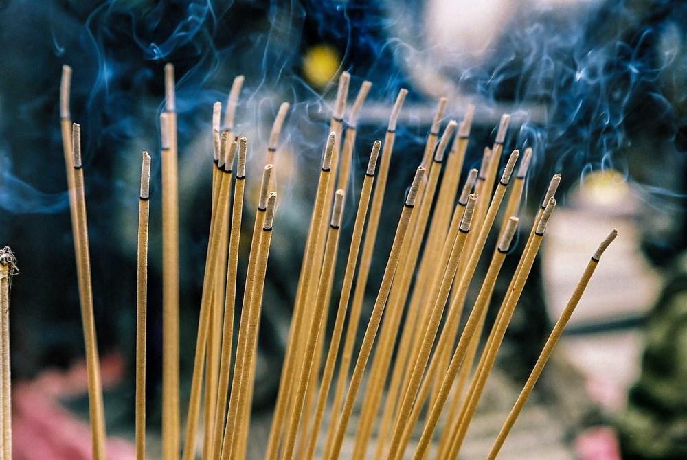 Burning incense at Wat Phra,Thailand