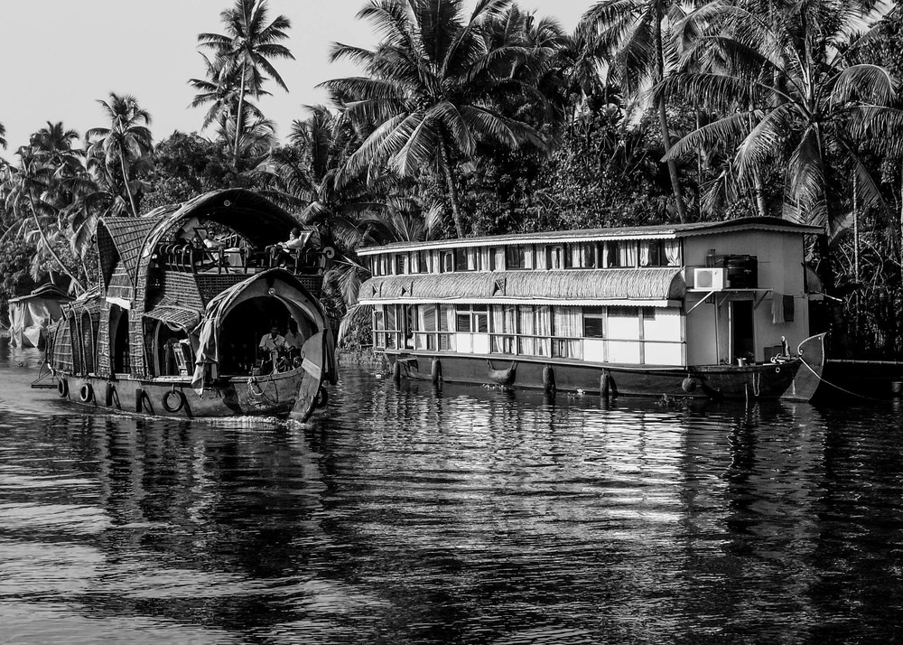 Boats on the backwaters of Kerala