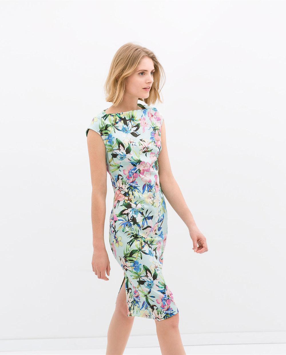 Zara Boatneck Printed Dress