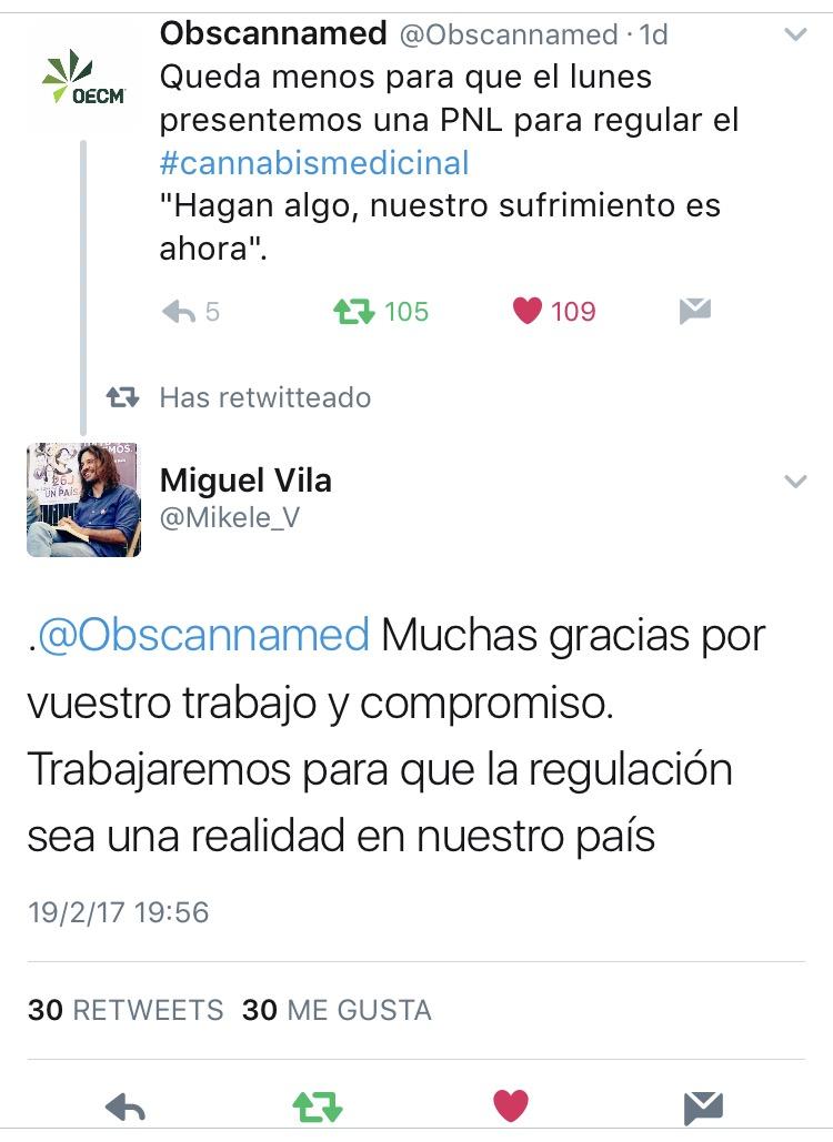 Algunos de los mensajes de apoyo que los políticos de la formación morada enviaron vía twitter.