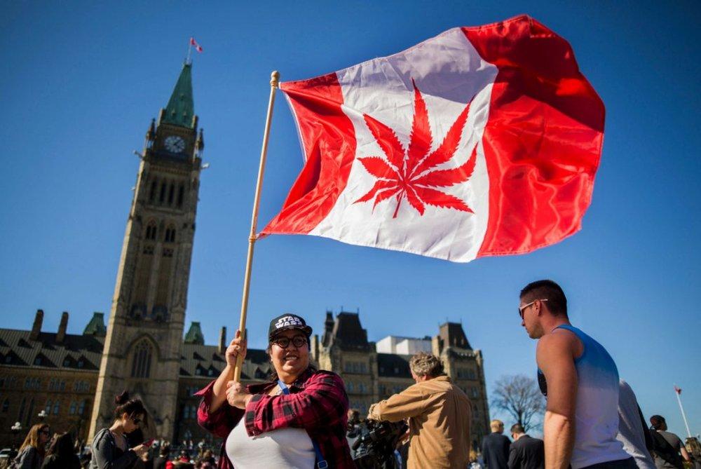Una mujer sostiene una bandera canadiense con una hoja de cannabis durante la celebración del día de la marihuana el 4 de Abril de 2016 frente al parlamento de Ottawa, Canadá. Fuente: AFP.