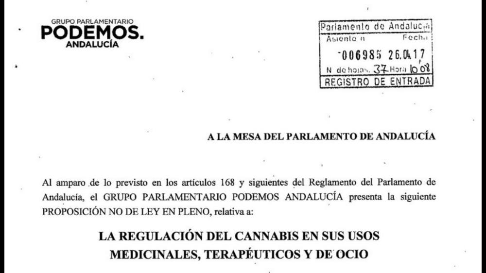 Foto del documento original de la Proposición No de Ley.
