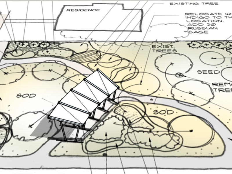The canopy design was developed to complement Synthesis' landscape site plan.