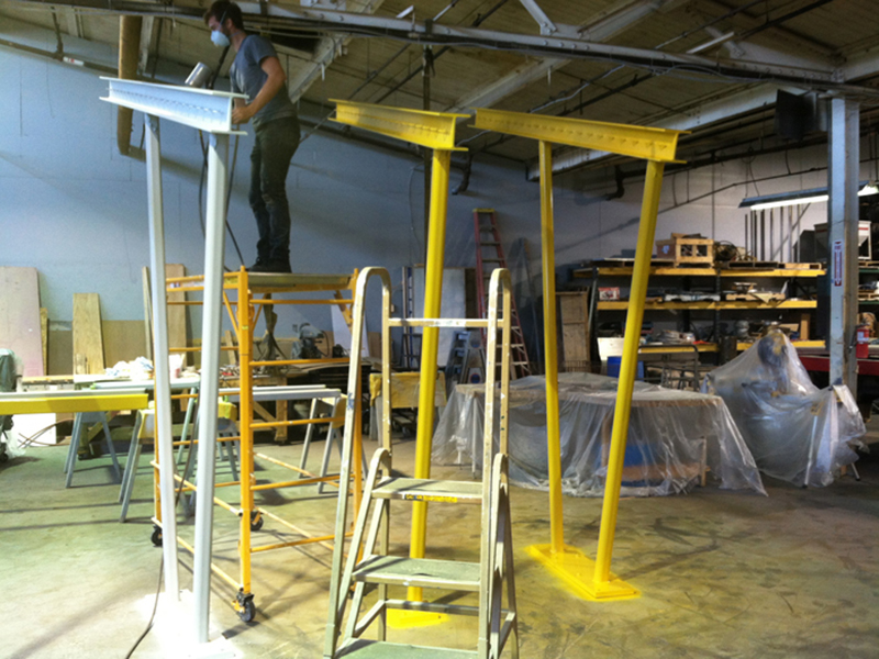 Structure being fabricated and painted at Indianapolis Fabrications. We love these guys.