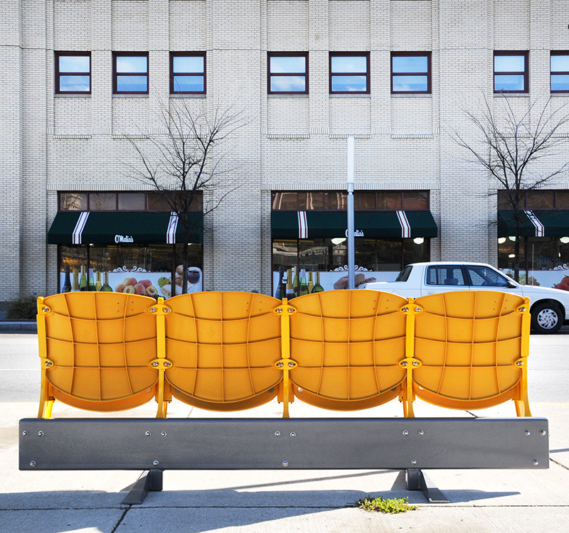 PUPSTOP PROGRAM  //  REPURPOSE Refurbished Bush Stadium Seats installed at bus stops throughout Indianapolis.
