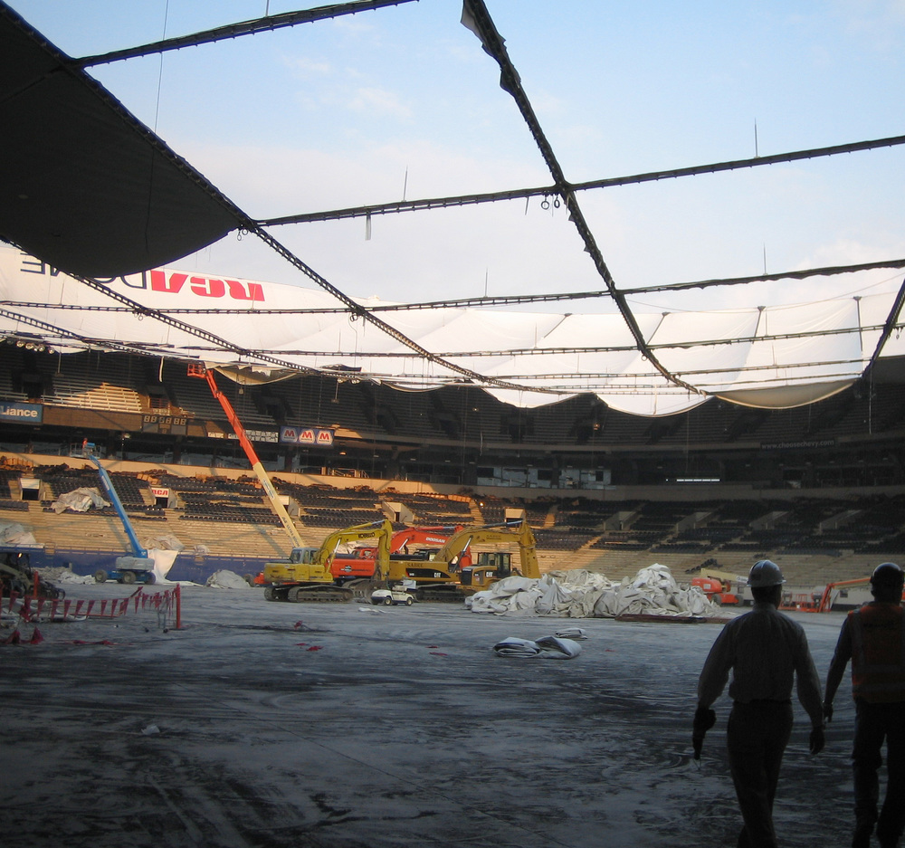The RCA DOME days after deflation. The roof fabric was taken down in large pieces and prepared for transport and storage.