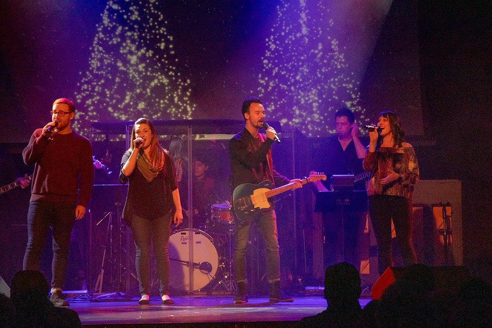 The GVCC Worship team sings a cappella during Christmas Experience
