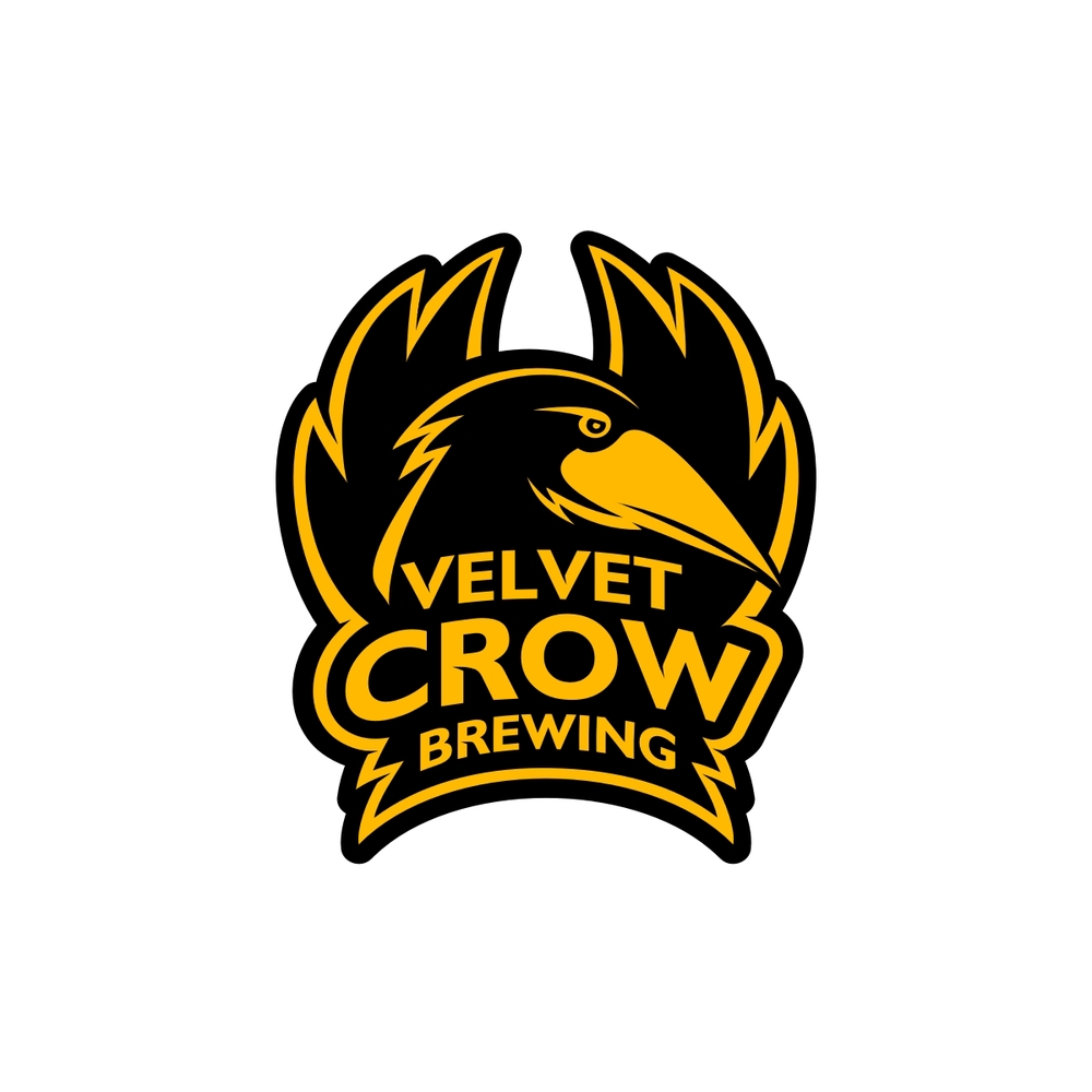 Logo and identity design for the craft beer brand Velvet Crow Brewing.