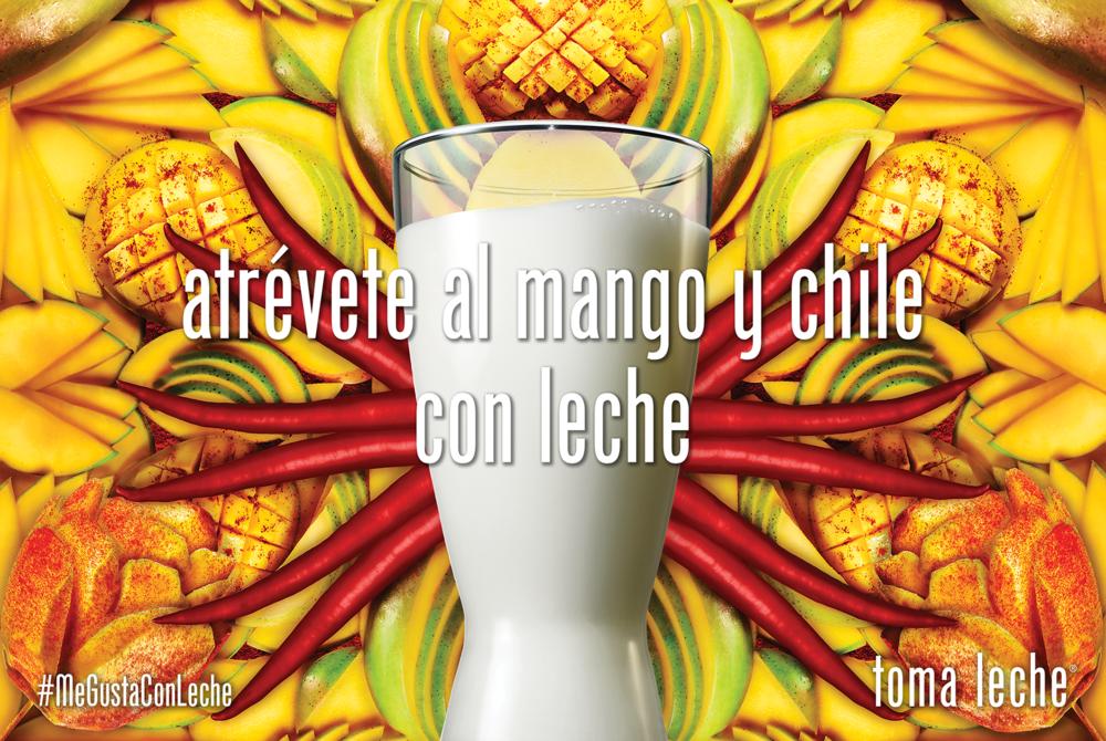 Translation: DARE TO TRY MANGO CHILI WITH MILK