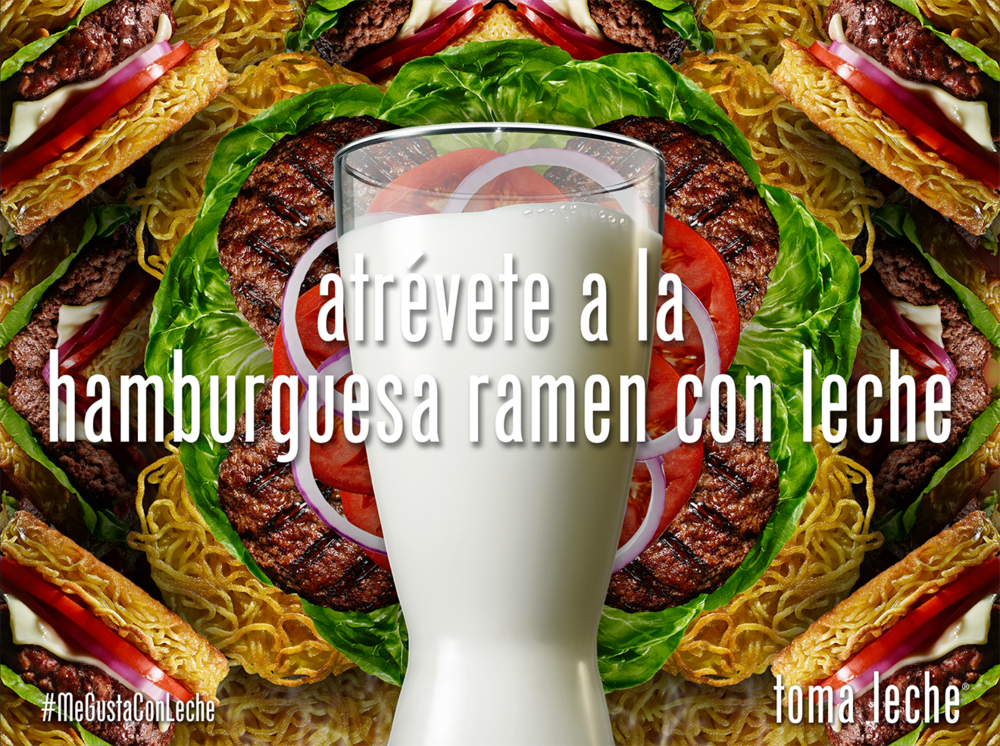 Translation: DARE TO TRY RAMEN BURGERS WITH MILK