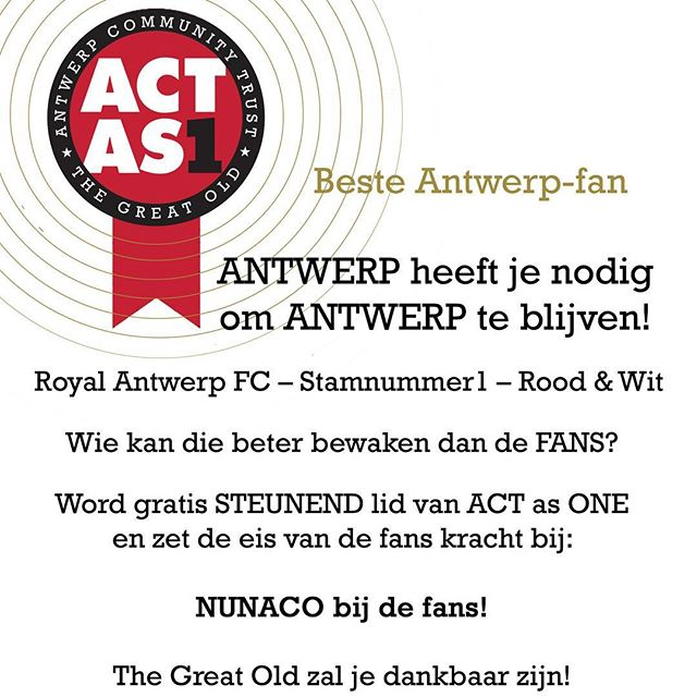 Take back what's ours! 👉 Bit.ly/steunend_lid  #coyr #rafc #BicoOut #Decuyper #Antwerp #supporters #fans #nunaco #flyer