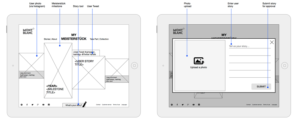 Tablet wireframes