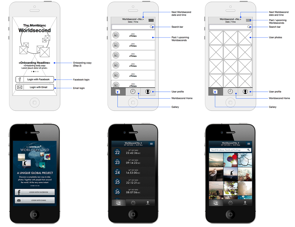 iOS wireframes and final designs