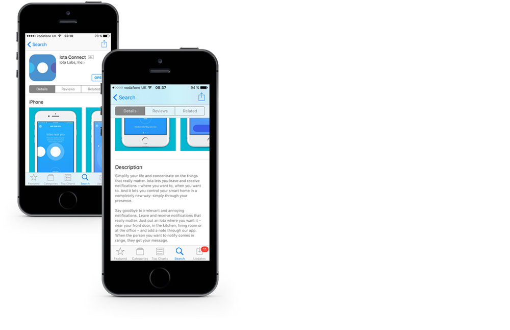 "Appstore copy for Iota Labs' ""Iota Connect"" app"