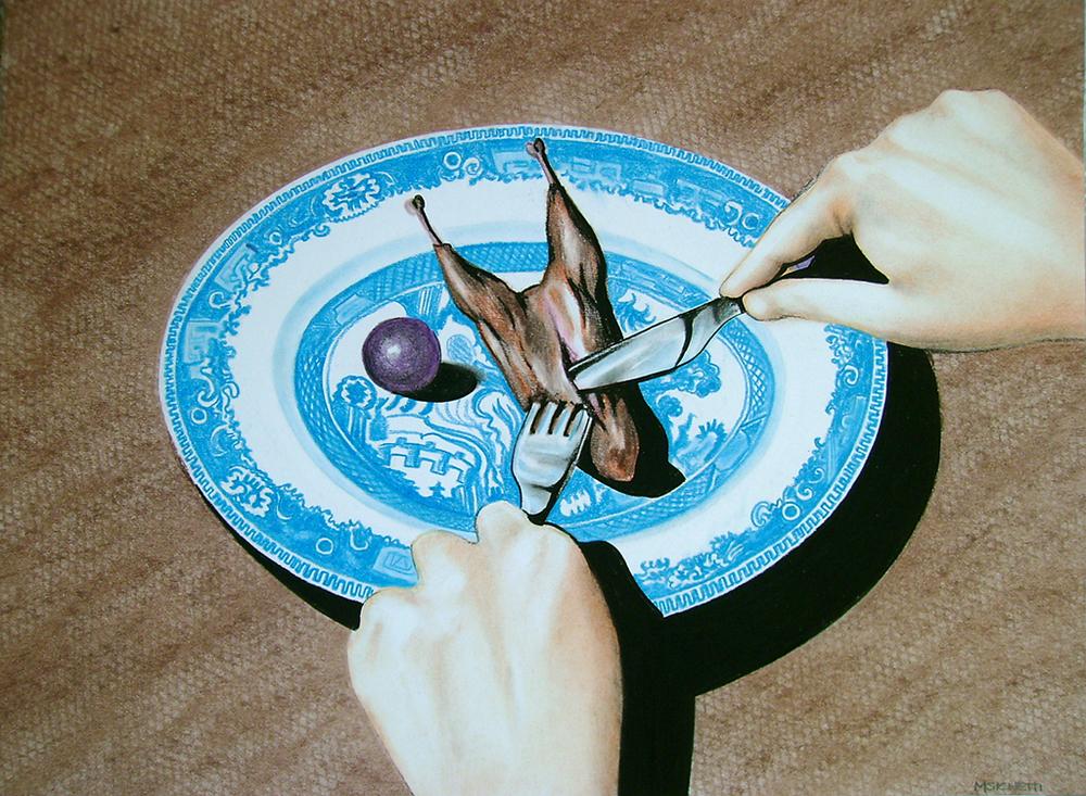 _Caille aux raisins_(2009)Dibujo, la¦üpiz y pastel sobre papel.Medidas 28 x 30 cm.jpg