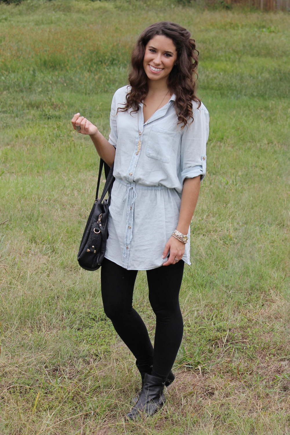 fall dresses with leggings and boots