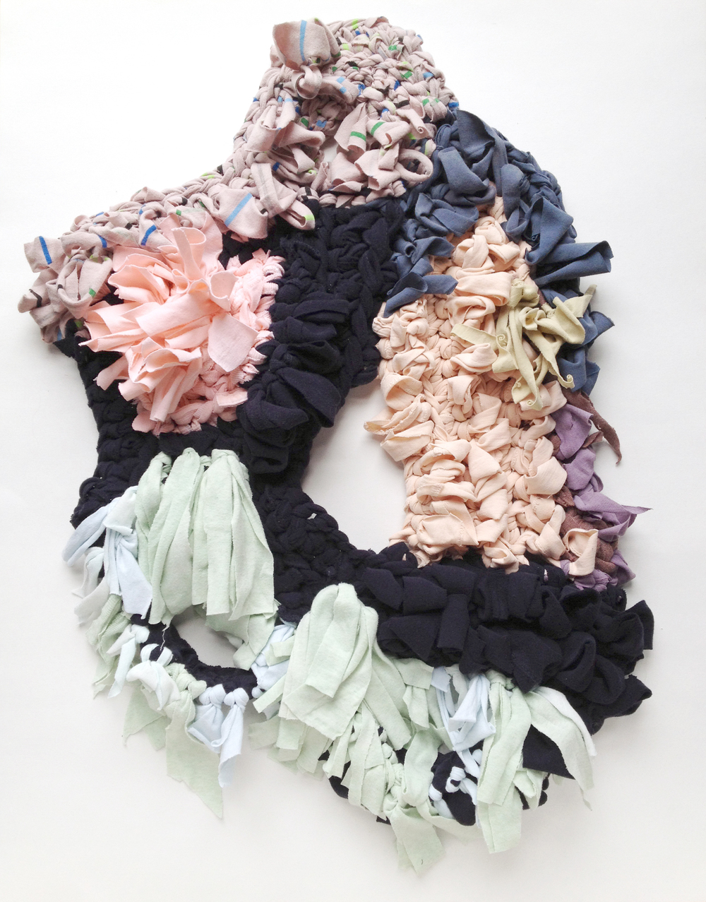 "Seabed , 2014, Crocheted strips of cotton jersey from t-shirts, 28"" x 17"" x 2"""