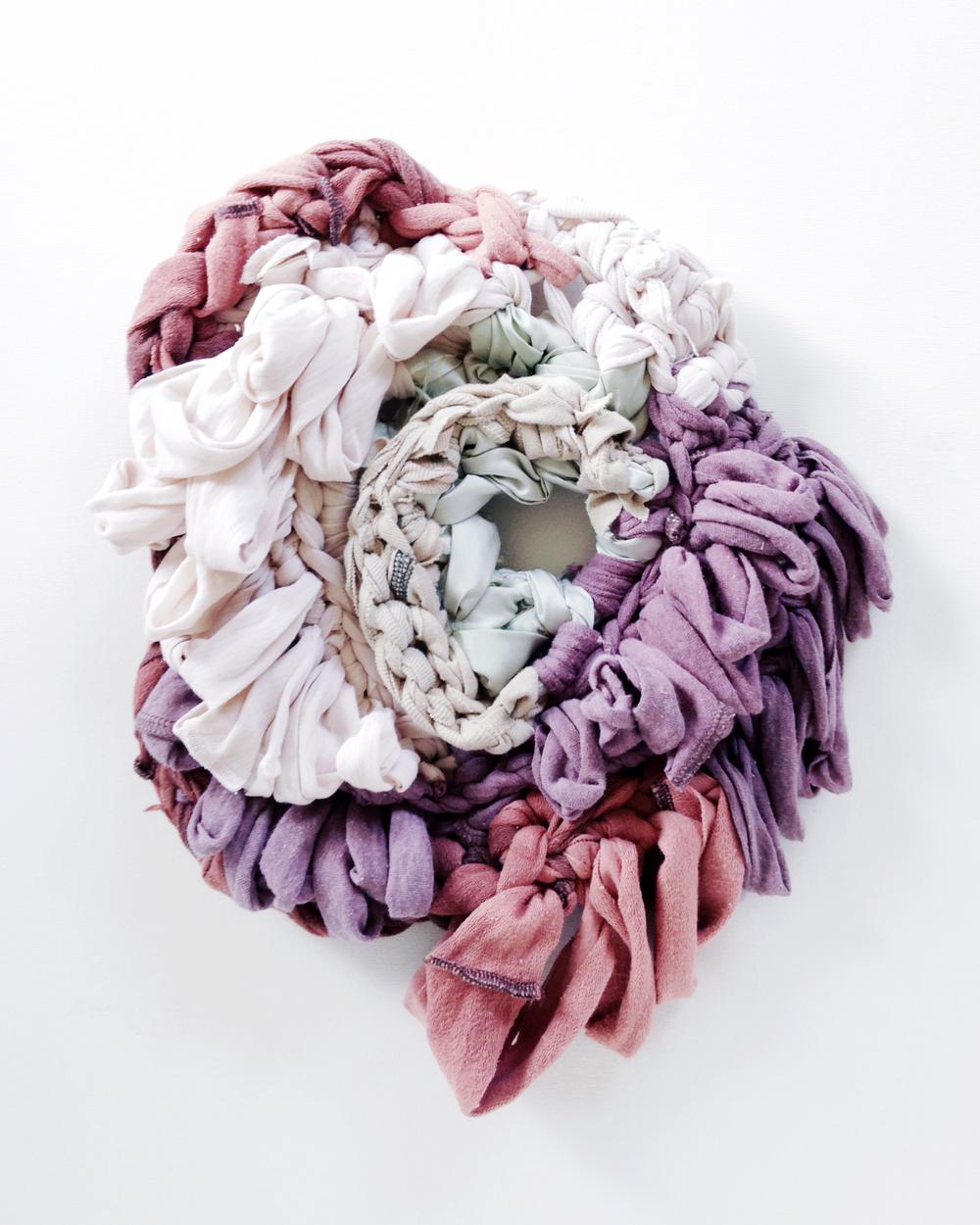 """Aequa 15x 11x 2"""", reclaimed fabric, 2014"""
