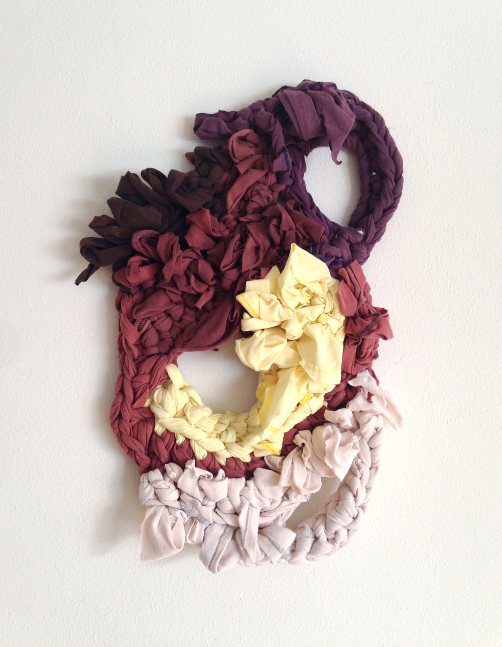 "Humilis 24 x 15 x 3"", reclaimed fabric, 2014"