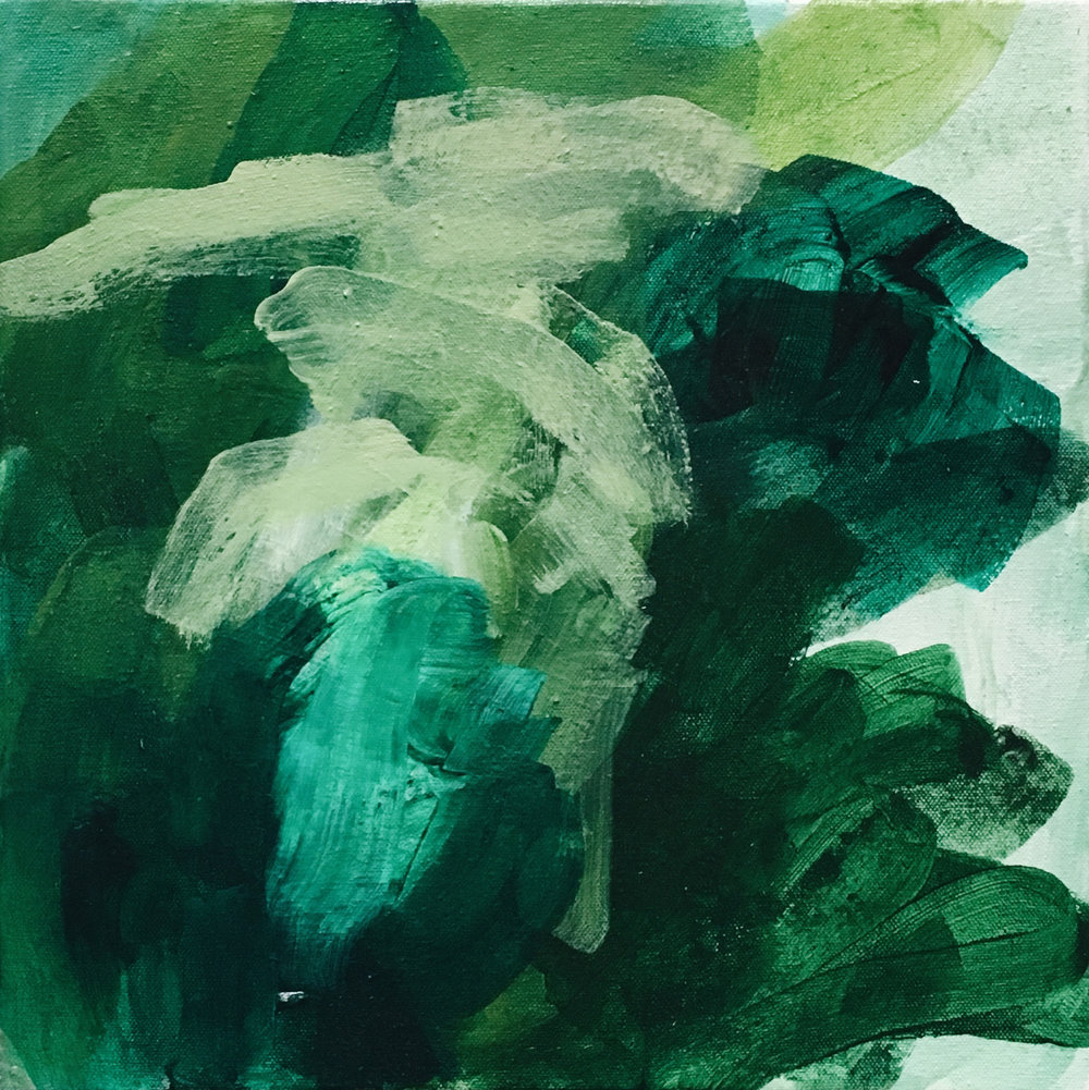 """Towards a Divide , acrylic on canvas,12 x 12"""", 2017"""