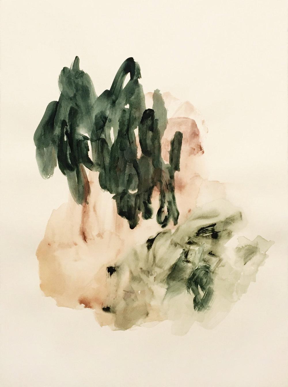 "Fields I ,acrylic on BFK Rives cotton paper, 22 x 30"", 2018"