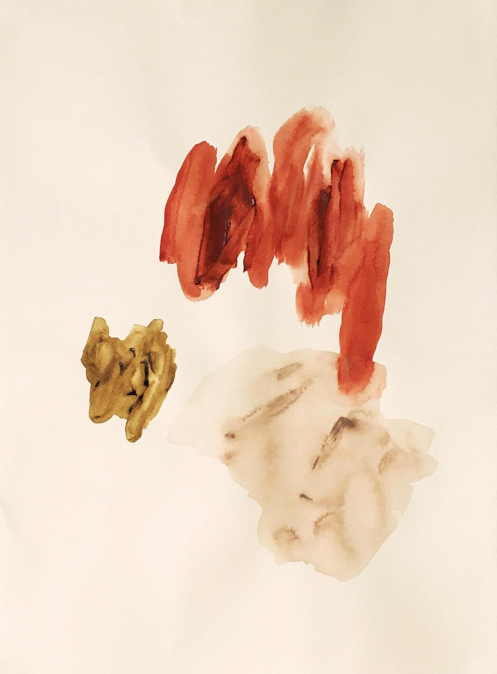"Fields II ,acrylic on BFK Rives cotton paper, 22 x 30"", 2018"