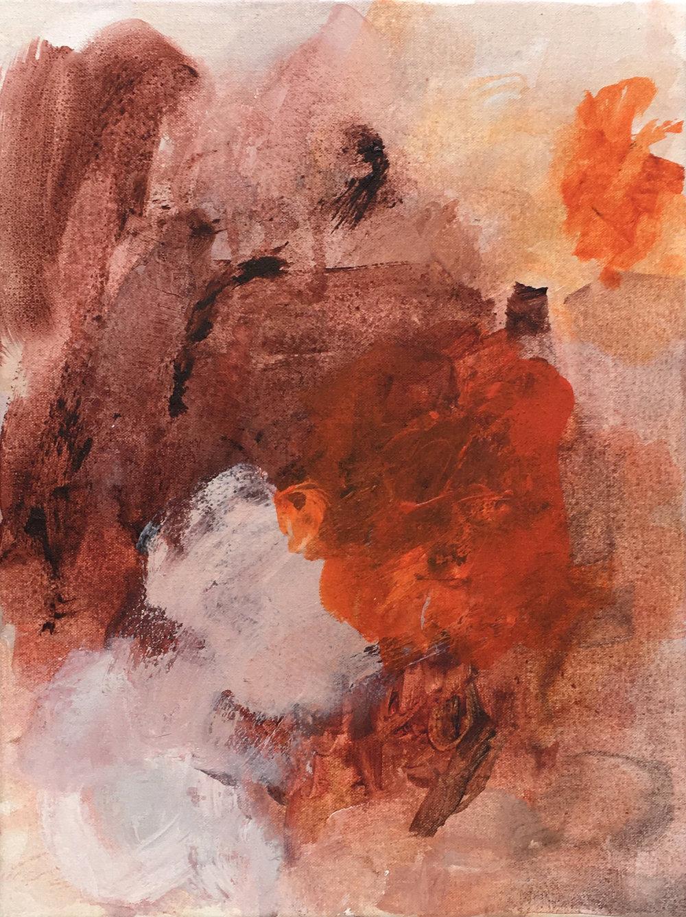 "Relics , acrylic on canvas, 12x 16"", 2018"