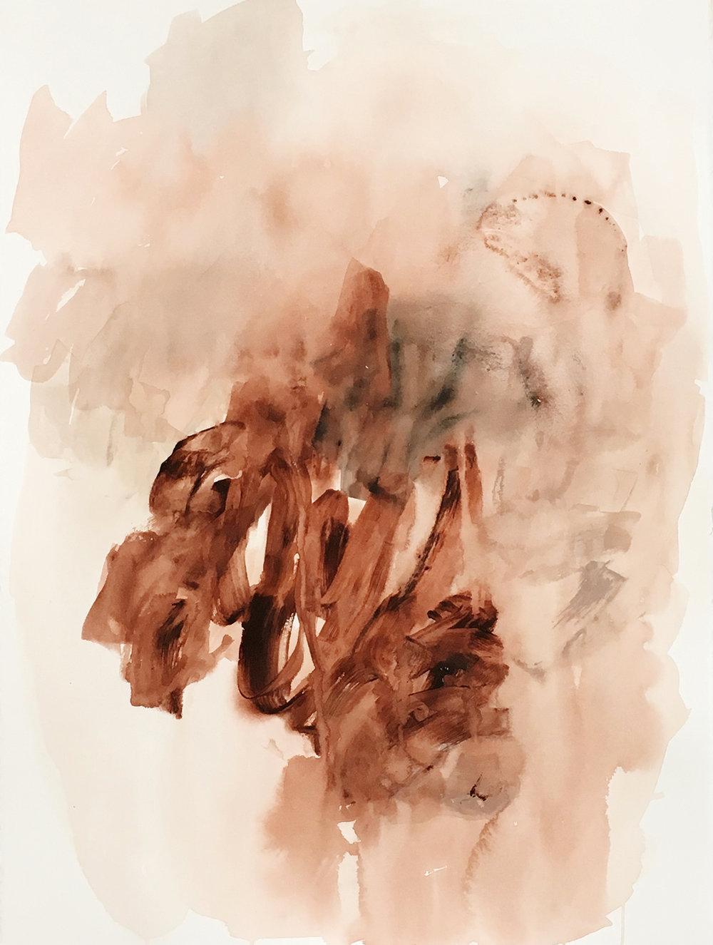 "Fields IV,  acrylic on BFK Rives cotton paper, 22 x 30"", 2018"
