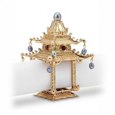 Pagoda Gold Napkin Rings s/2 $175.00