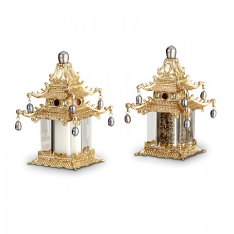 Pagoda Gold Salt & Pepper Shakers $235.00