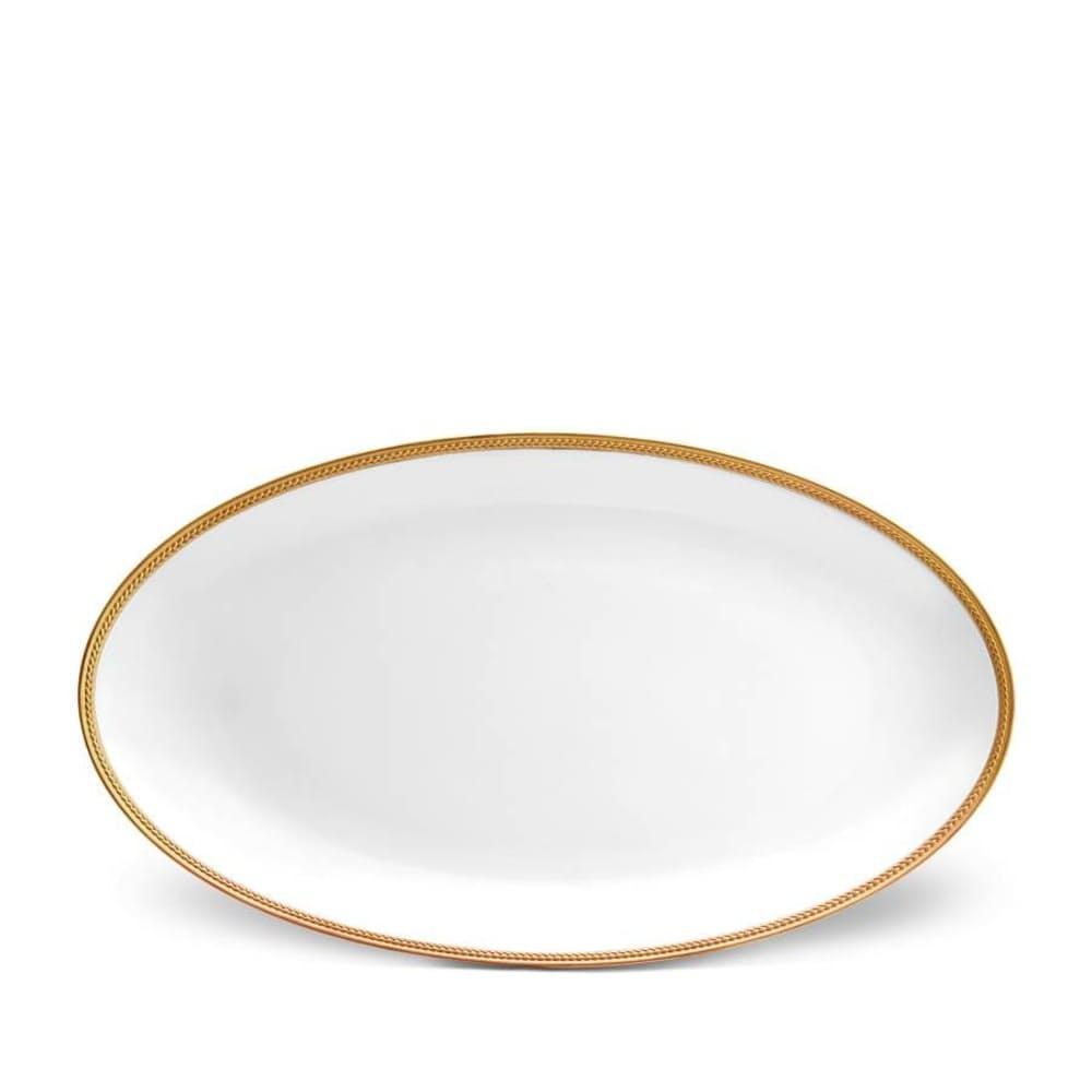 "Soie Tressée Gold Oval Platter - 21"" x 12"" in $470.00"