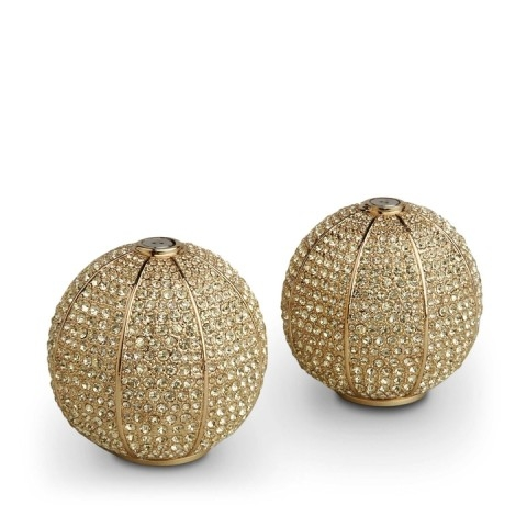 Pave Sphere Gold + Yellow Crystals salt & pepper shakers $475.00