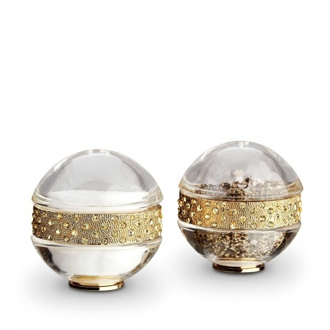 Pave Band Jewel Gold/Yellow Crystals Salt & Pepper Shakers     $195.00