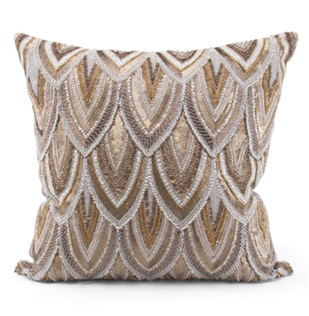 Cortez Copper Gold Beaded Hand Embroidered Pillow - 22x22 $650.00