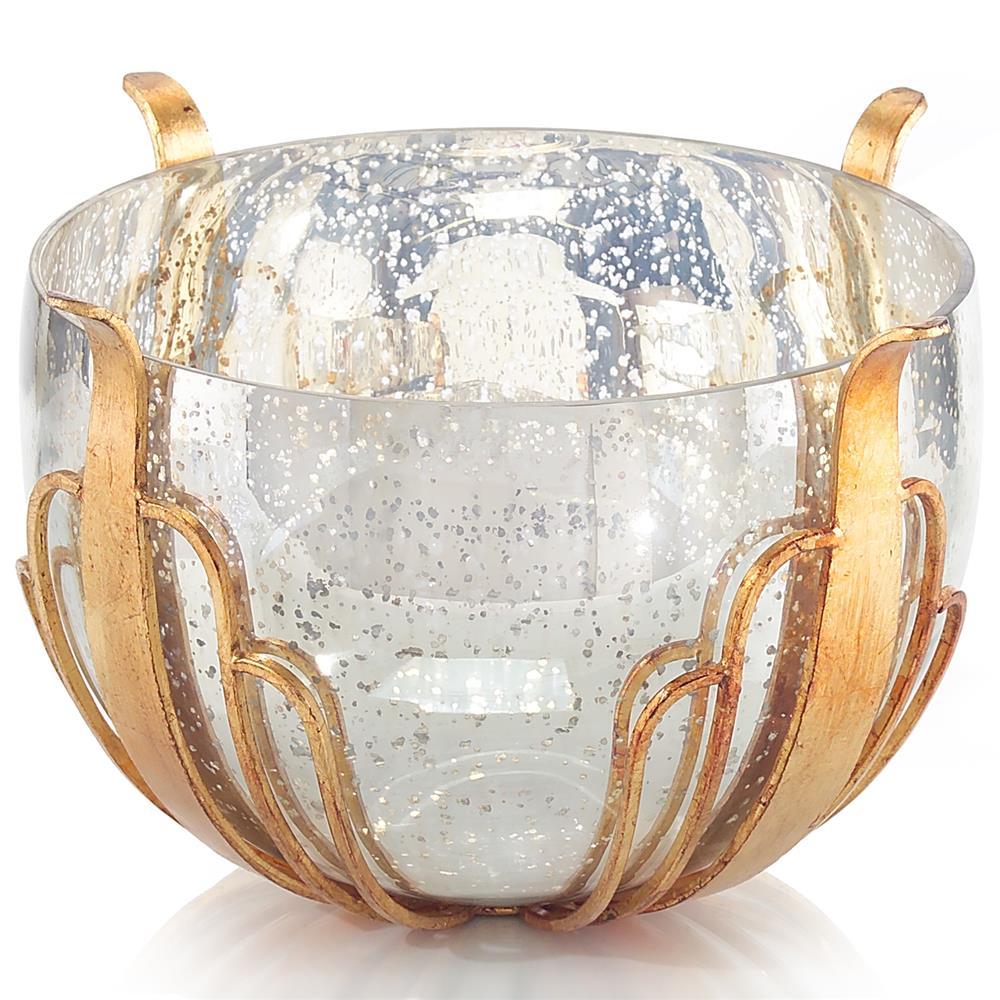 Margaret Hollywood Regency Gold Leaf Mercury Glass Bowl $334.00