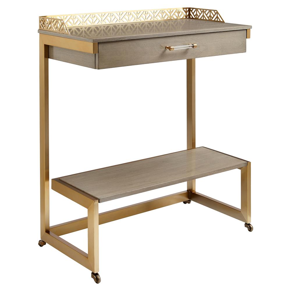 Pippa Modern Classic Brass Double Shelf Bar Cart $925.00