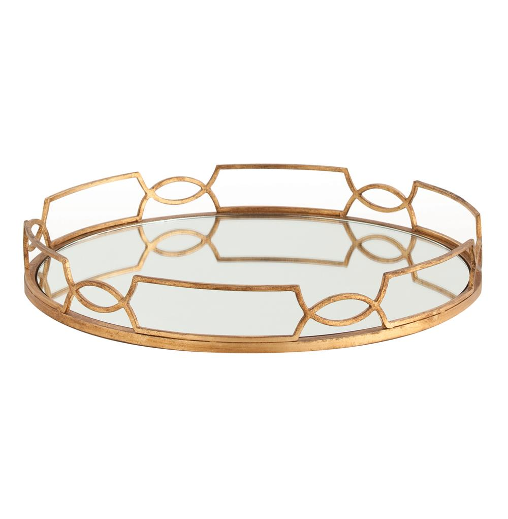 Hollywood Regency Large Gold Link Mirrored Tray $396.00