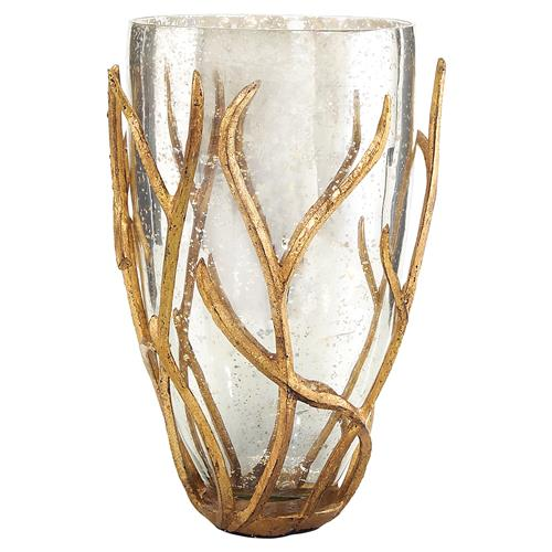 Wrapped Gold Branch Mercury Glass Vase $357.00