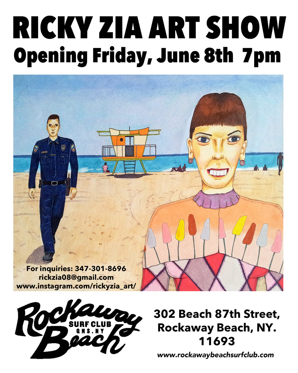ricky zia art show rockaway beach surf club