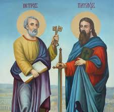 Saints Peter and Paul with the                   Office of the Keys                                    and the                                      Sword of the Spirit